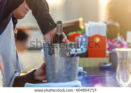 Wine degustation catering services background with glasses of wine on bartender counter in restaurant - stock photo