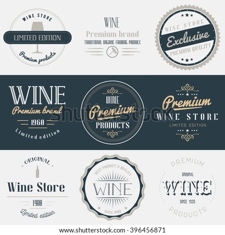 Wine drink labels set. Brands design elements, emblems, logo, badges and stickers. Isolated illustration in vintage style. - stock photo