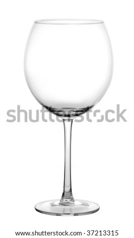Wine empty glass, isolated white background