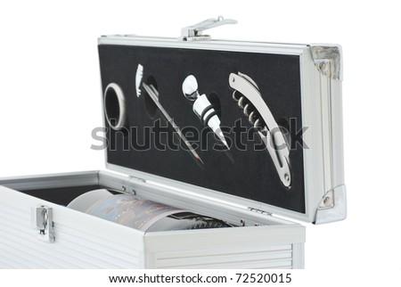 wine flight case isolated on white - stock photo