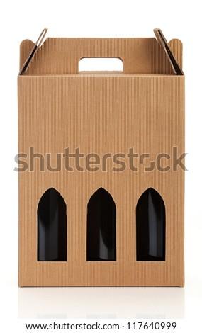 Wine gift box. - stock photo