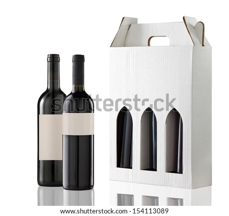 Wine gift box and two bottles - stock photo