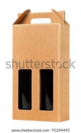 Wine gift box, isolated on white (with clipping path) - stock photo