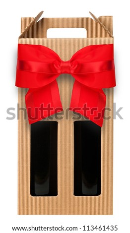 Wine gift box with two bottle on white. - stock photo