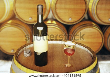 Wine glass and bottle on wooden barrel top. Mock up, 3D Rendering