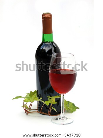Wine Glass and Bottle With Ivy Vine - stock photo