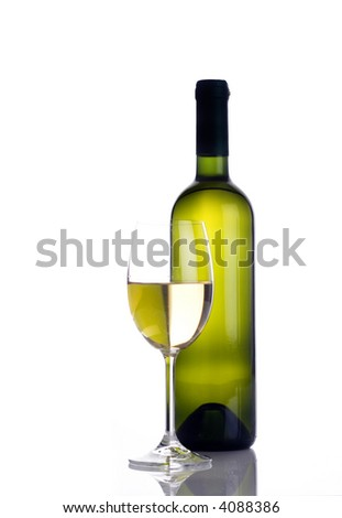 Wine glass and wine bottle isolated on white - stock photo