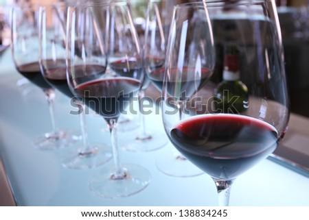 wine glass bang typical Italian products - stock photo