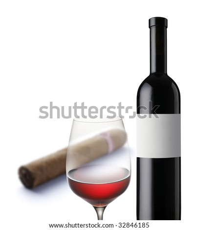 wine glass - bottle - cigar - stock photo