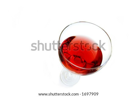 wine glass from above - stock photo