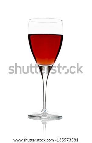 wine glass full of wine on white background