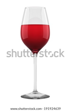 Wine glass full with red wine isolated. - stock photo