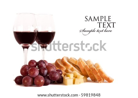 Wine glass, grapes, cheese and bread , isolated - stock photo