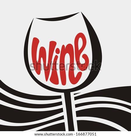 Wine glass illustration - stock photo