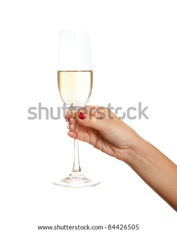 Wine glass in a hand of the woman,  isolated on white - stock photo