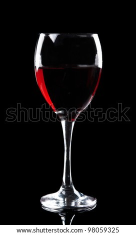wine glass isolated on a black background