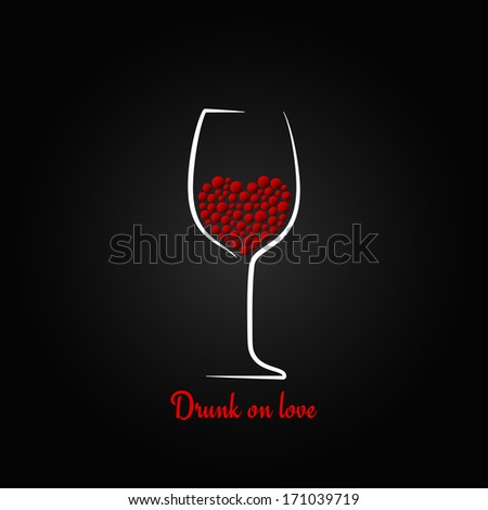 wine glass love concept valentines day design background illustration - stock photo