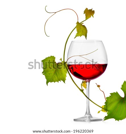 Wine. Glass of wine isolated on white background. One Glass of red wine and grape leaves. Rose wine. Vine leaf.  - stock photo