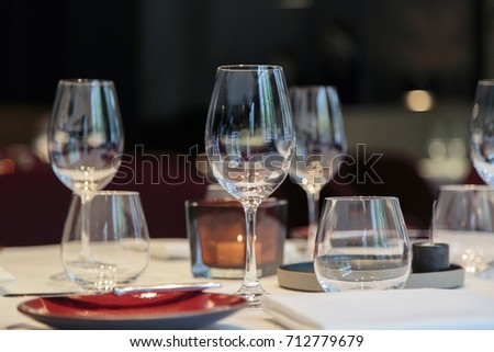 Wine Glass on a Romantic Table Setting