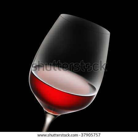 Wine glass on black - stock photo