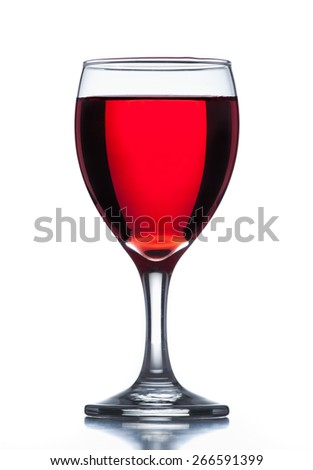Wine glass on reflective surface with white background. - stock photo