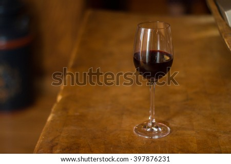 Wine Glass on Wood