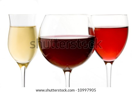 wine glass red, rose and white