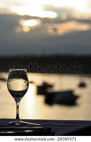 wine glass setting - stock photo