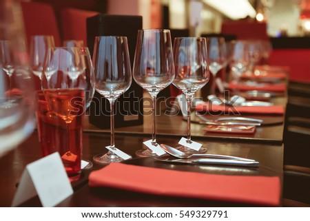 Dinner Table Background empty glasses set napkin fine dining stock photo 184734305