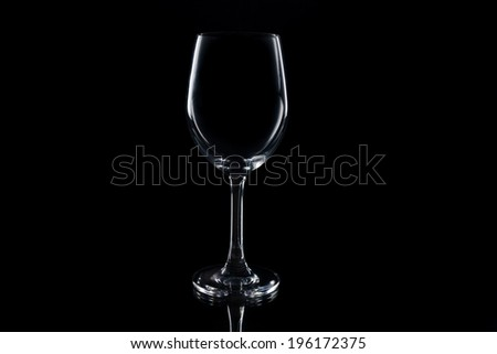 Wine Glass silhouette on Black Background - stock photo