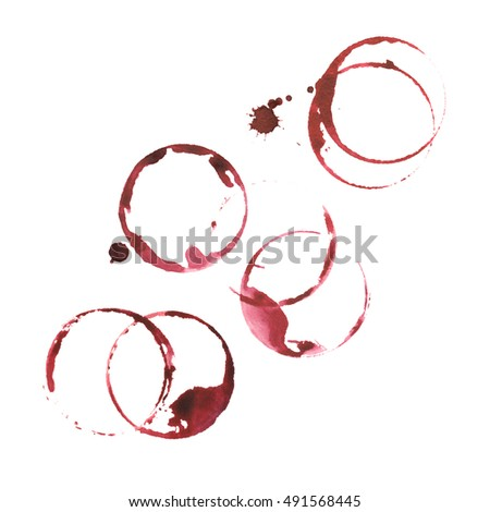 Wine glass stains in watercolor