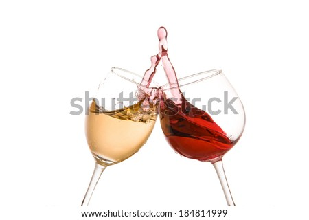 wine glass toast on a white background - stock photo