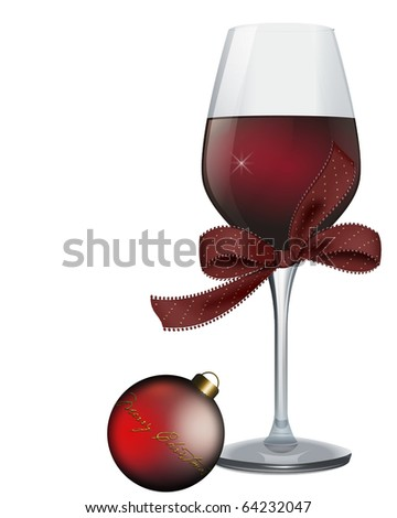 Wine glass with a bow and Christmas ornament isolated on white background - stock photo