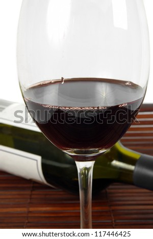 wine glass with bottle closeup on table