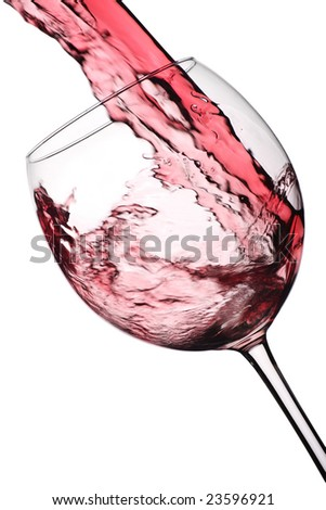 wine glass with flowing red wine
