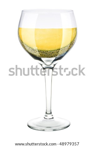 wine glass with mellon