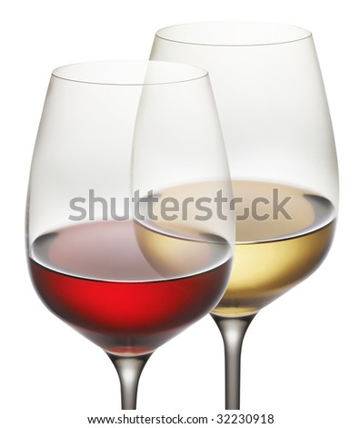 wine glass with red and white wine - stock photo