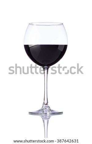 Wine glass with red wine isolated on white background - stock photo