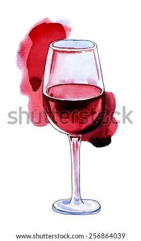 Wine Glass with Red Wine Isolated on White Background. Hand drawn illustration. - stock photo