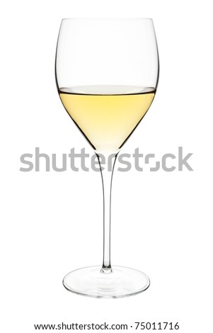 Wine glass with white wine isolated on white background with clipping path. - stock photo