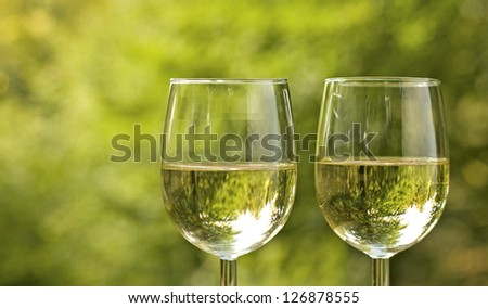 Wine glass, with white wine, picnic. - stock photo