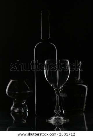 Wine  glasses and bottle contour - stock photo