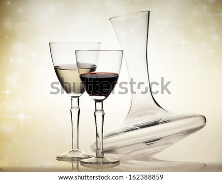 Wine glasses and decanter - stock photo