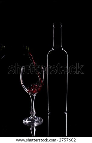 Wine  glasses and red wine bottle contour - stock photo