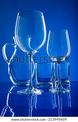 wine glasses, decanter - stock photo