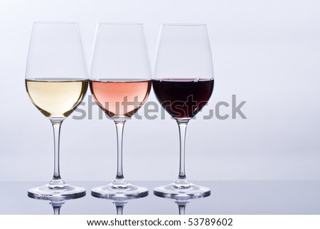 Wine Glasses Filled with Colorful Wine