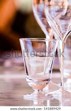 Wine glasses in a luxury restaurant - stock photo