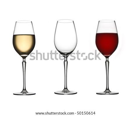 wine glasses isolated - stock photo