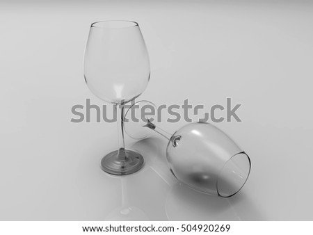 Wine glasses isolated on white background. 3D rendering.