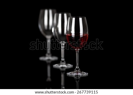 wine glasses on black - stock photo